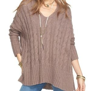 Free People Easy Cable knit v-neck sweater oversz